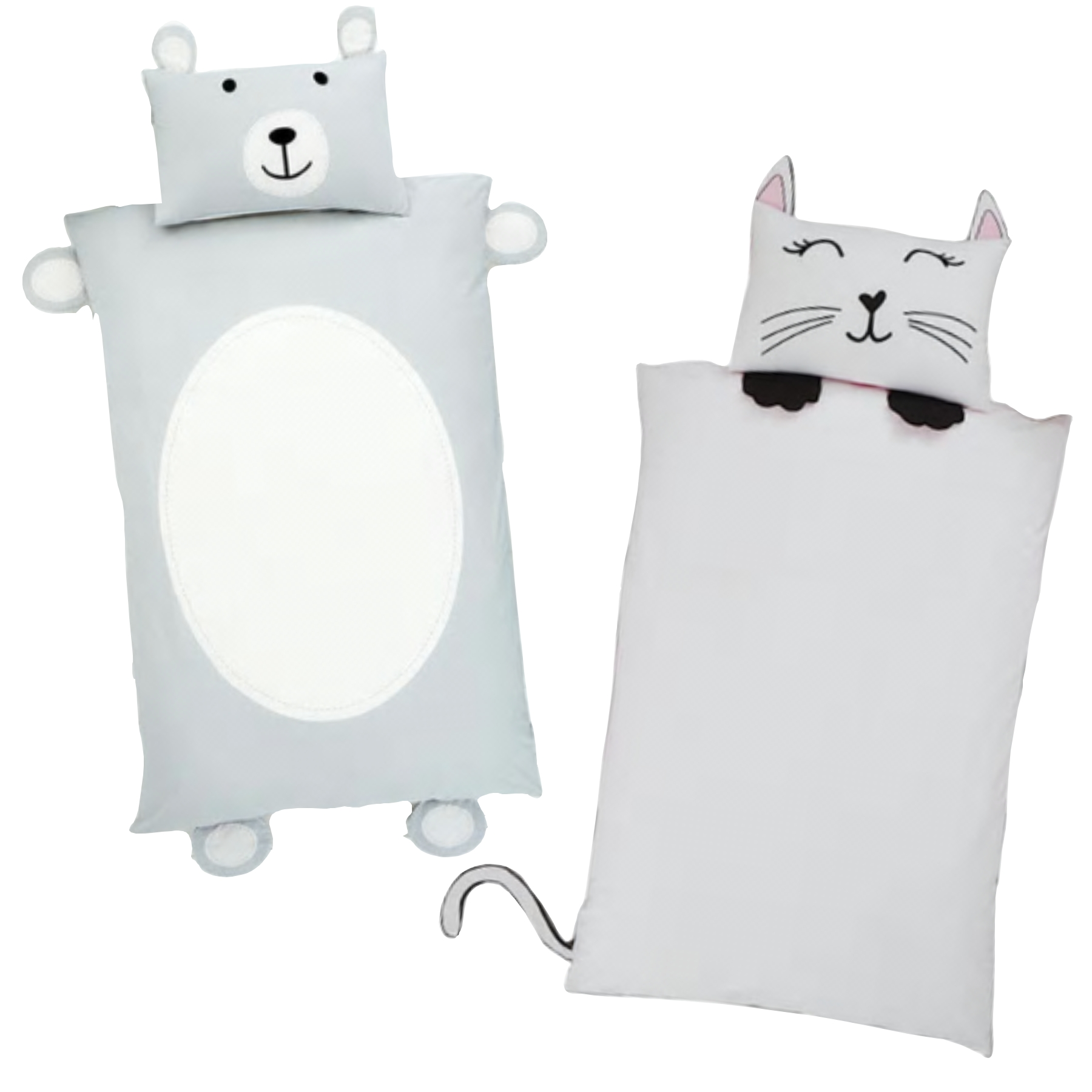 Teddybear shaped single bedding and cat shaped single bedding