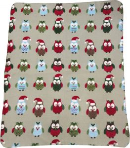 Owl Christmas Fleece Blanket