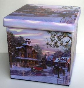 Christmas village storage box and ottoman seat