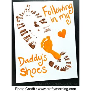 Child's Footprint Inside Dads Shoe Print from Crafty Morning