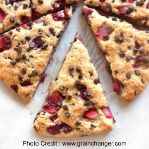 GLUTEN FREE Gluten Free Strawberry Chocolate Chip Scones from Grain Changer