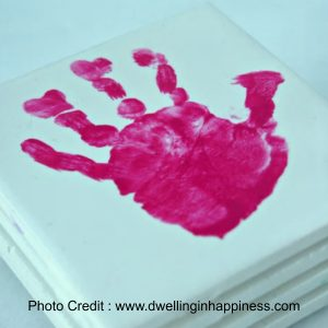 Hand Print Coasters from Dwelling In Happiness