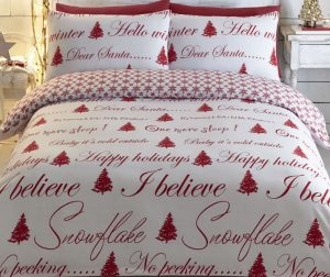 Its Christmas double bedding in red