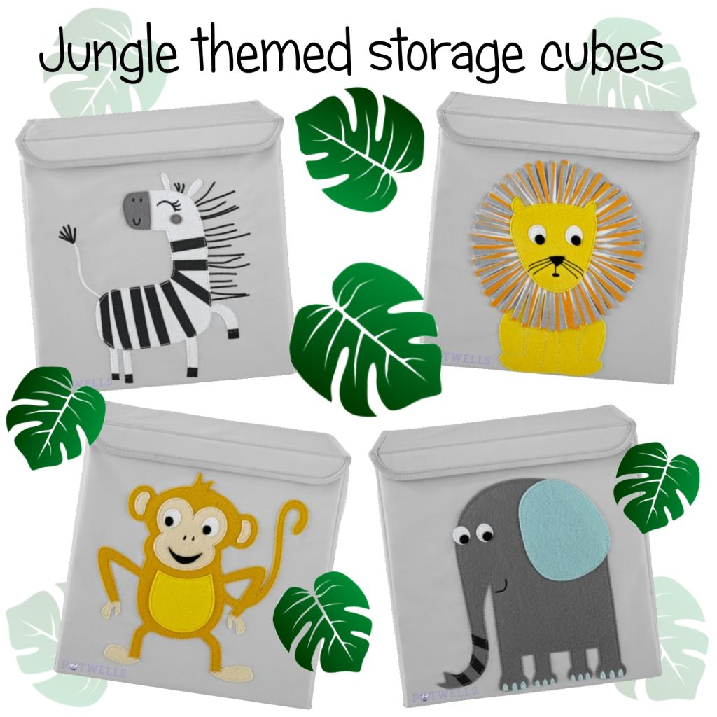 Jungle themed storage cubes