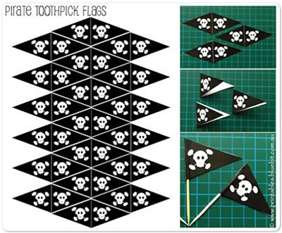 Pirate Tooth Pick Flags - for cupcakes or sandwiches