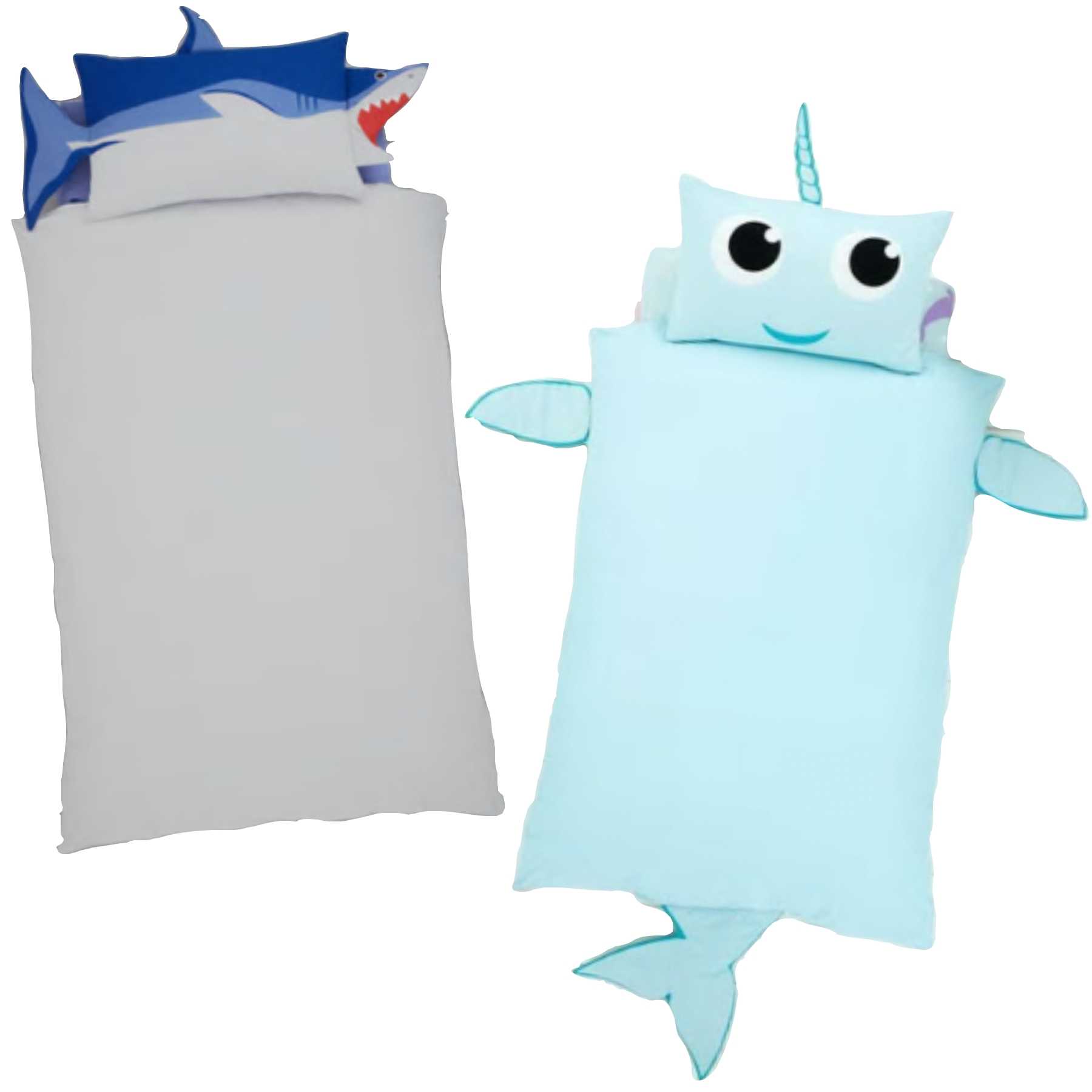 Shark shaped single bedding and Narwhal shaped single bedding