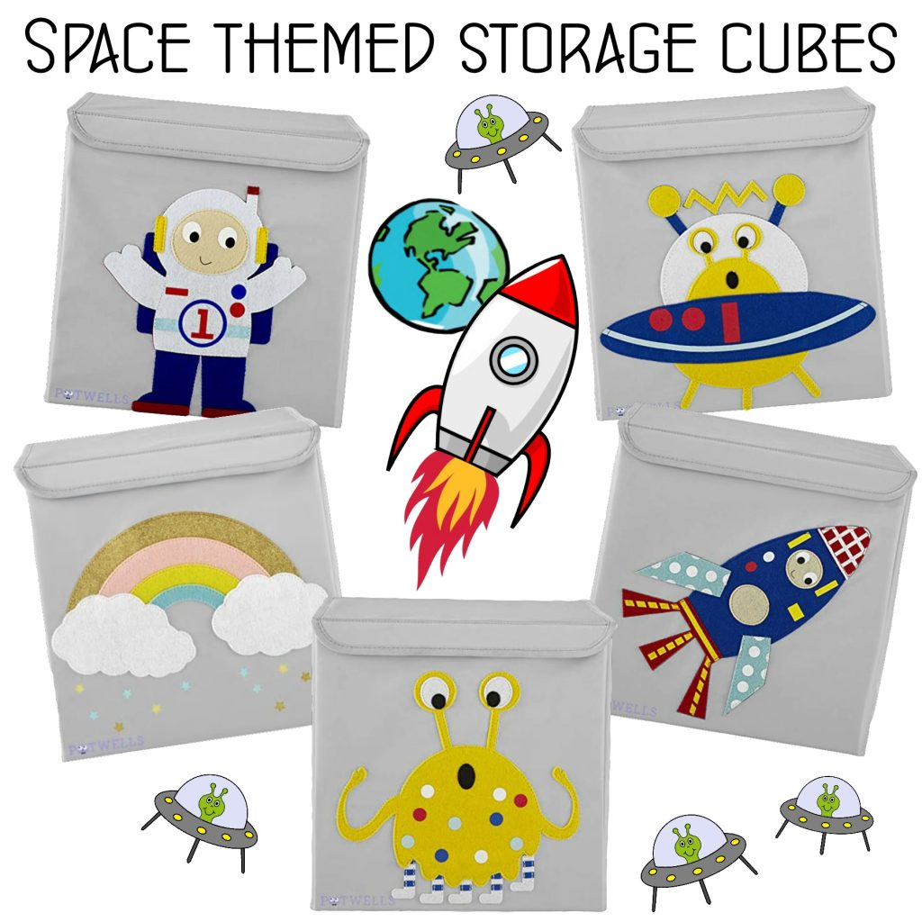 Space themed storage cubes