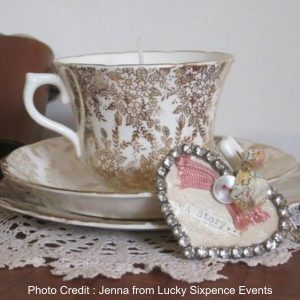 Tea Cup Candles from Bridal Musings featuring Jenna of Lucky Sixpence Events