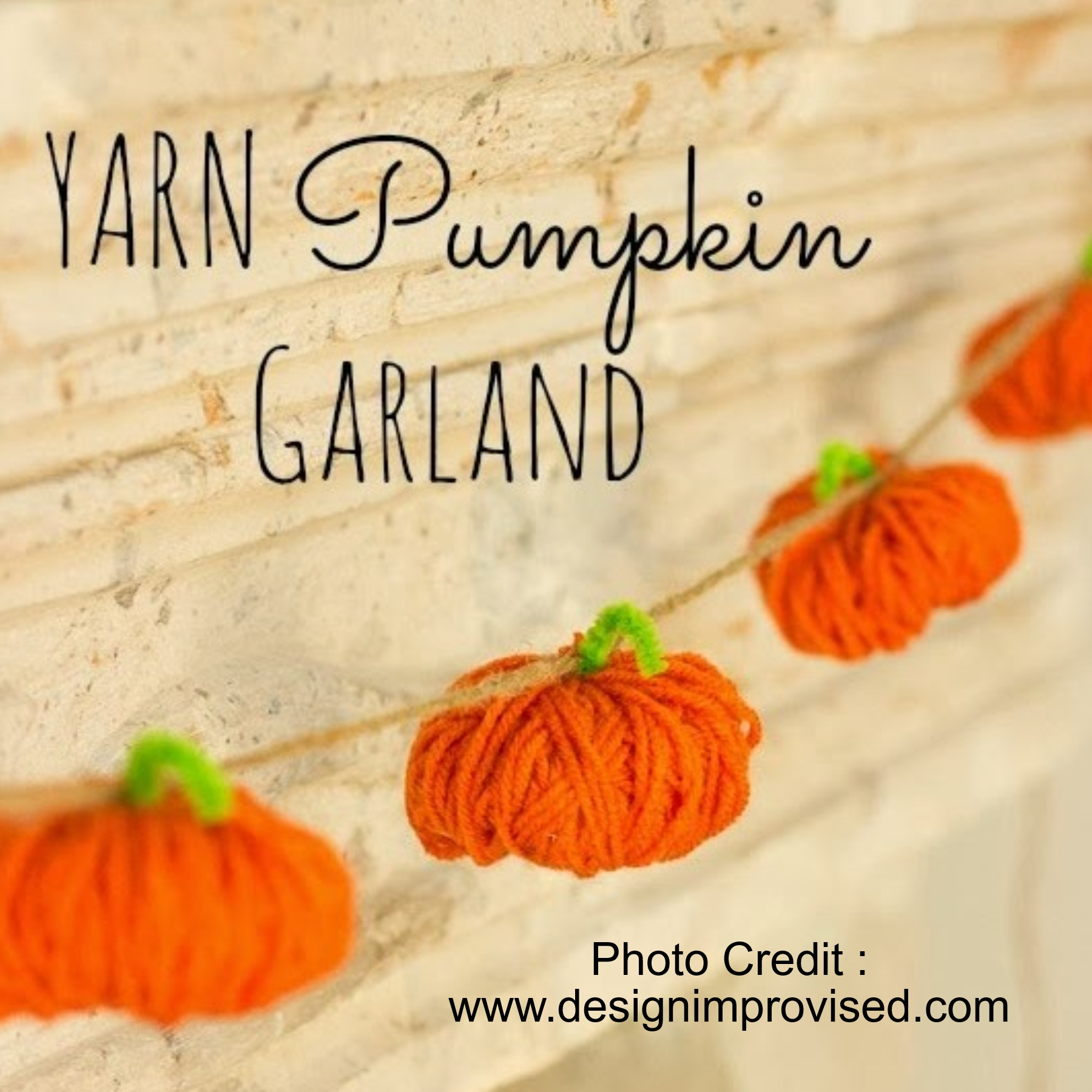 Yarn Pumpkin Garland from Design Improvised